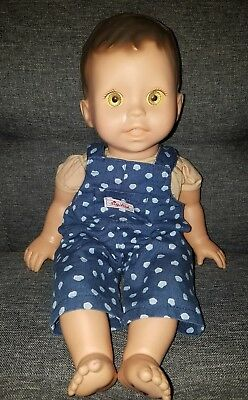 """Fisher Price Baby Doll Yellow eyes 2002 14"""" w/ Sigikid overalls Adorable"""
