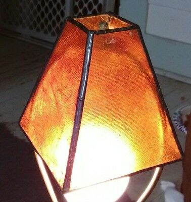 Small Antique Arts and Crafts Amber Burnt Orange Fiber Lamp Shade Brass Frame