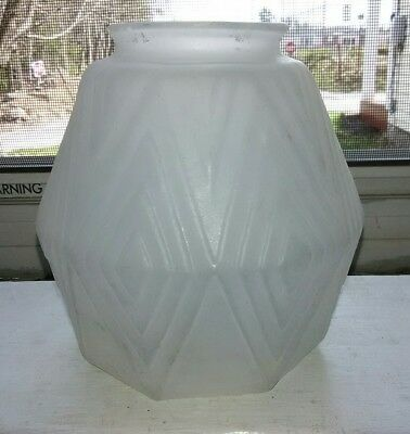OLD VINTAGE ART DECO Frosted Glass Diamond Pattern w Octagon Shape Sconce Shade