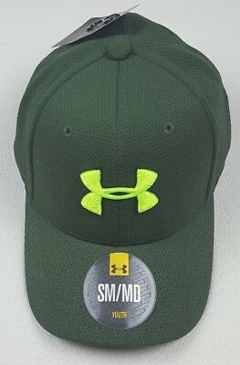 Under Armour Boys Youth Baseball Cap Heavy Logo Embroider Stretch Fit Green S/M