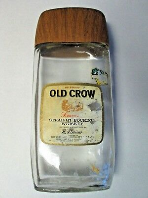 Vintage Old Crow Traveler Bottle EMPTY w/ Buckle Strap Kentucky Bourbon Whiskey