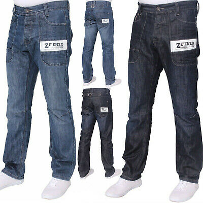 307a62f4422e New Designer Branded Enzo Mens Belted Denim Jeans Regular Straight Fit Leg