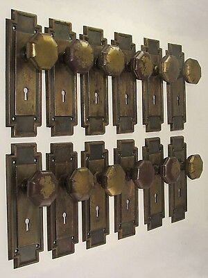 1 Pair of Refurbished Antique Mission Door Knobs and Backplates Many Available!