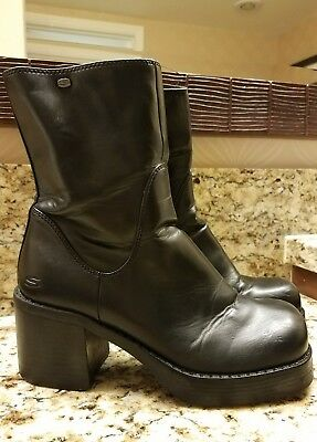 Skechers Chunky Platform Clueless Black Cyber Goth 90s Mid Caf Rave Boots Size 8