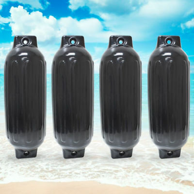 """4 NEW RIBBED BOAT FENDERS 8.5"""" x 27"""" BLACK TWIN EYE BUMPERS MOORING PROTECTION"""