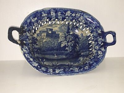 Historical Staffordshire Blue Grapevine Reticulated Basket Castle Deer 1825