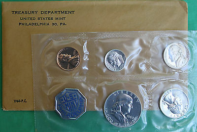 1960 US Mint Five Coin Silver Proof Set with Franklin Half and Envelope