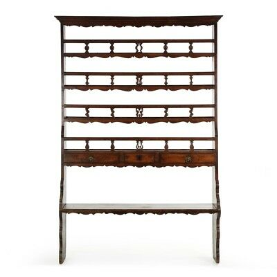 Circa 18th Century French Provincial Antique Welsh Cupboard Bookshelf w/ Drawers