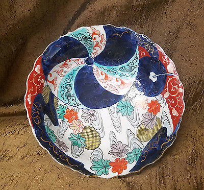 """Antique Japanese Hand Painted Multi Colored Bowl 8 1/2"""" Wide"""