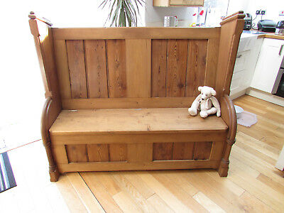 Large pine church pew/ monks bench box settle with storage under seat.