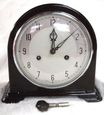 Art Deco 1930s Smiths Enfield Bakelite Striking Mantel Clock, Fully Restored.