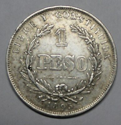 Uruguay 1895 Issue 1 Peso Scarce Silver Crown