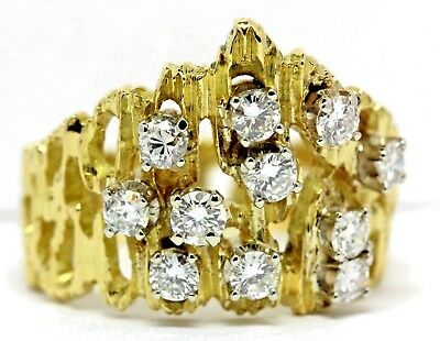 18k yellow gold 1ctw round diamond cluster cocktail ring vintage estate 8.66g
