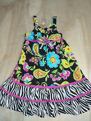 Girl's Emily West Multi-Colored Floral Cotton Sleeveless Dress Size 7