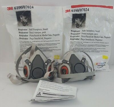 2 New 3M 6000 Respirator Small Half Mask Facepiece 6100 / 07024
