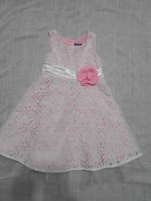 Little Girls' Pink & Violet Pink White Lacy Sleeveless Spring Dress Size 4