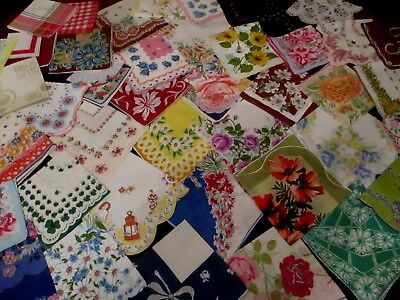lot of 50 Vintage cutter/craft FLORAL hankies handkerchiefs w FLAWS