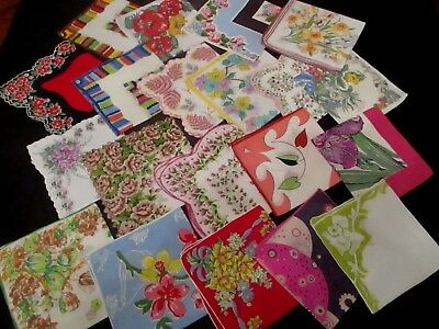 lot of 20 Vintage stunning floral hankies 11 to 13""