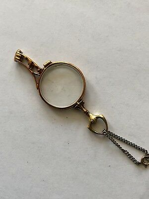 14K Antique Edwardian Lorgnette French Folding Magnifying Opera Glasses.