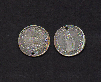 k334 Nort Peru Estado Nor - Peruano 1/2 Real 1836 TM Silber