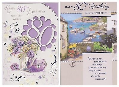 80th Birthday Card Happy Male Female
