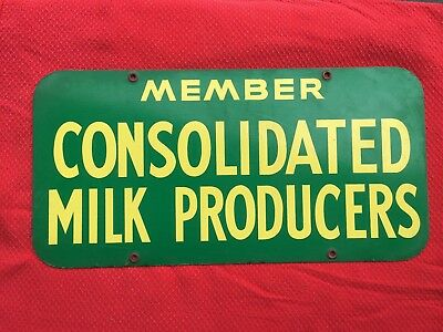 """Awesome Double Sided """"Member Consolidated Milk Producers"""" ORIGINAL Metal Sign"""