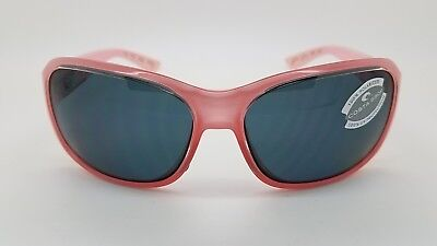 NEW Costa Del Mar sunglasses Inlet Coral Grey 580P IT 44 OGP pink womens wrap