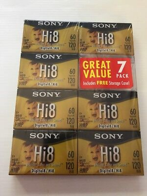 Lot Of 7 Sony Hi8 HMP Digital 8 Tape 60/120 Minute Blank Video Tapes NEW SEALED
