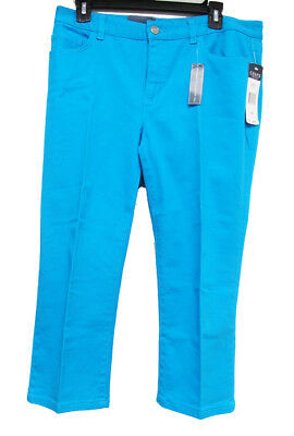 CHAPS Ladies Slimming Fit Turquoise Capris - Size 10 - New With Tags -Free Ship