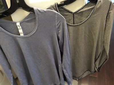 Lululemon long sleeve shirts size 6 Lot of two black&white, blue&white