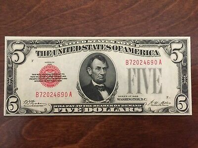 1928 $5 Red Seal Us Legal Tender Note