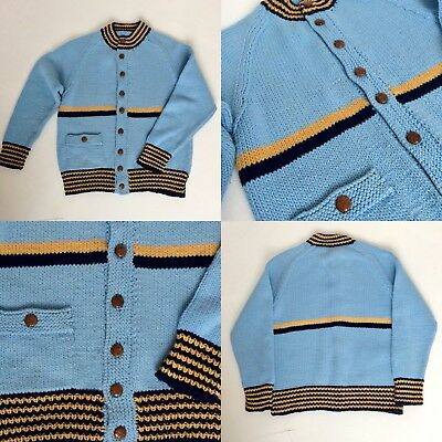 Vintage 1950's Hand Knitted Mens Cardigan