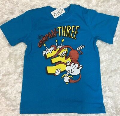 NWT Childrens Place Boys Birthday Tee Shirt CHIMPAN THREE Monkey Candles Size 3