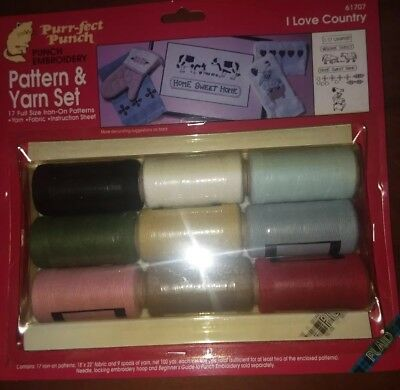 Purrfect punch embroidery pattern and yarn set (I love country) 2 punch needles