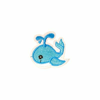 Blue Whale (Iron On) Embroidery Applique Patch Sew Iron Badge