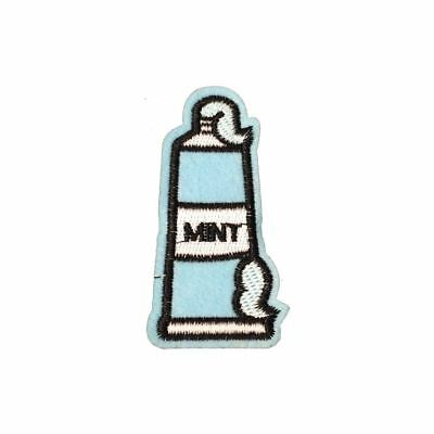 Mint Blue Toothpaste (Iron On) Embroidery Applique Patch Sew Iron Badge