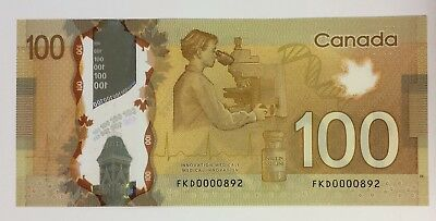 Bank of Canada 2011 $100 LOW NUMBER in AU condition. N1237