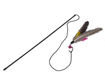 DTOL Kitten Cat Teaser Interactive Toy Dangler Rod With Bell And Feather
