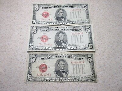Lot of 3 1928 F $5 Red Seal United States Notes