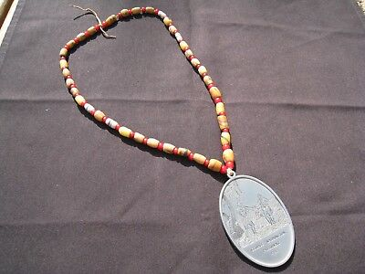 Antique Native American Trade Bead Necklace with George Washington 1793 Pendant