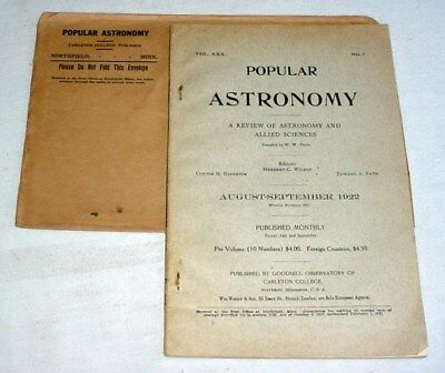POPULAR ASTRONOMY • Aug/Sept 1922 • GOODSELL Observatory CARLETON Telescopes