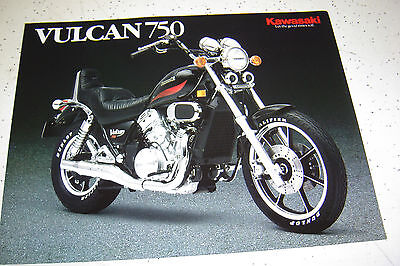 1986 Kawasaki Vulcan VN750 - A2, Sales Brochure,Genuine NOS, 2Pages.