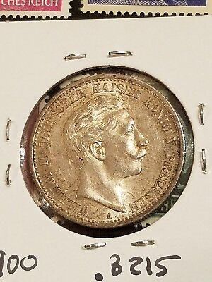 1908 a prussian 2 mark german states silver coin toned