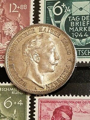 1907 a prussian 2 mark silver german states coin