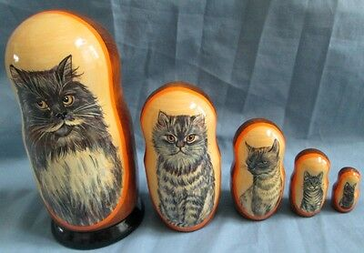 Cats Russian Hand-Crafted Nesting Doll Set/5-pieces Large Set/Wood