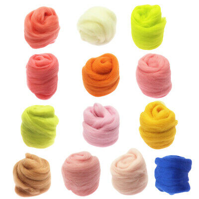 13 Colors Spinning Sewing Trimming Wool Fibre Roving For Needle Felting 10g