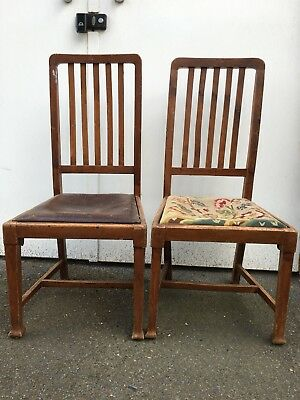 Two Vintage Early 1900s  wooden Dining Chairs Made In England London Used