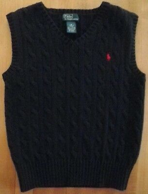 Polo Ralph Lauren 6 Vest Blue Sleeveless Pullover Cotton Cable Knit Red Pony Boy