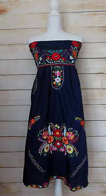 Womens Strapless Mexican Dress Navy Blue Floral Embroidery Handmade Peasant