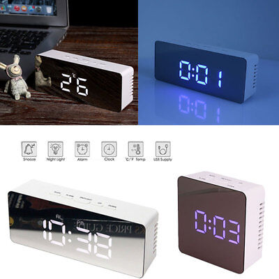 Plastic White Practical Durable Portable Digital Wall Clock Thermometer